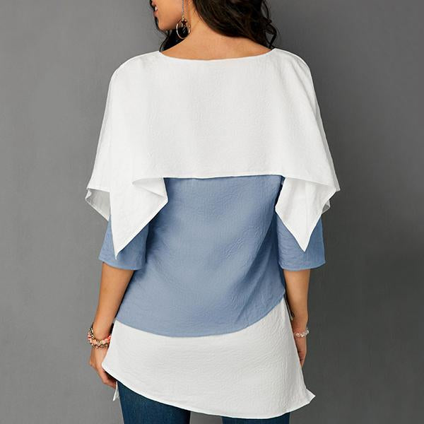 Fashion Stitching  Color Irregular Blouses