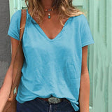 Solid Color V Neck Loose Blouse