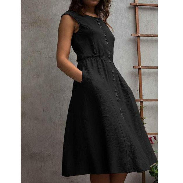 Elegant Buttoned With Pocket Swing Hem Sleeveless Dress