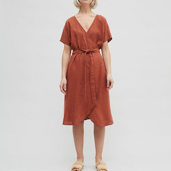 Vacation V Neck Solid Color Lace-Up Dress