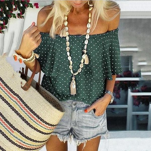 Sexy Off-The-Shoulder Polka Dot Blouse