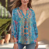 Bohemian Printed V Neck Loose Blouse