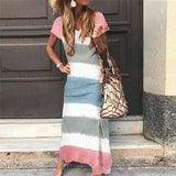 Stripe Stitching Color V-Neck Dress