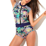 Sexy Floral Print One-Piece Swimsuit For Scuba Surfing Swimsuit