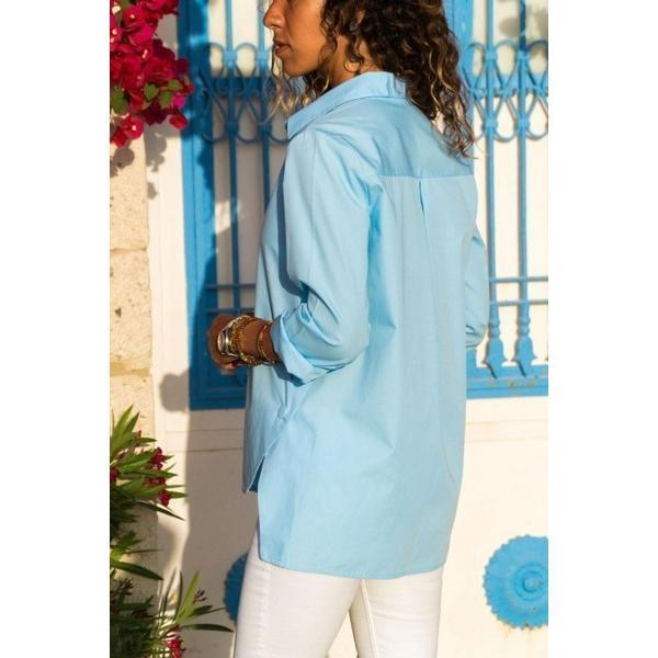 Women's Long Sleeve Plus Size Solid Color Blouse