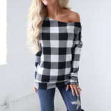 Printed Long Sleeve Plaid Loose Blouse