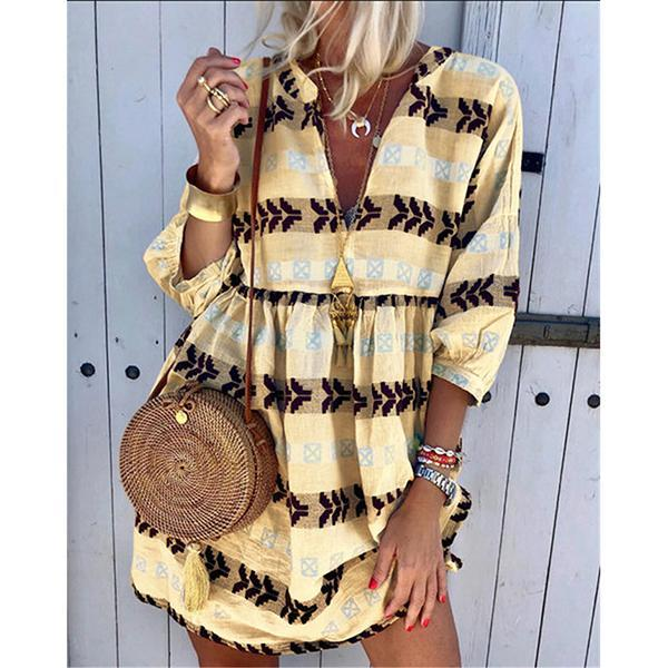 Bohemian Sexy V Neck Printed Dress