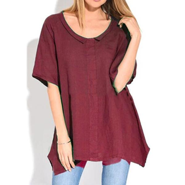 Solid Color Irregular Hem Loose Blouse