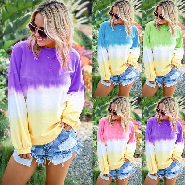 Casual Long Sleeve Multicolor Loose Blouse