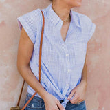 Casual V-Neck Short Sleeve Striped Blouse