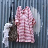 Fashion Stripe Long Sleeve Loose Dress
