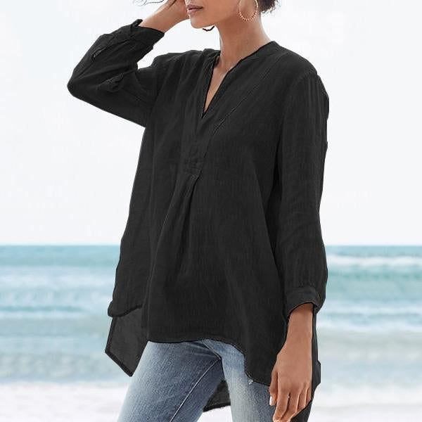 V-Neck Loose Autumn Solid Casual Blouses