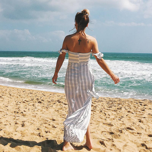 Sexy Off Shoulder Striped Boho Maxi Dress