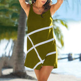 Solid Dolor Printed Sleeveless Beach Dress
