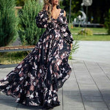 Women Floral Printed Evening Party Mixi Dresses