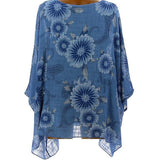 Daily Flower Printed Bat Sleeve Blouse