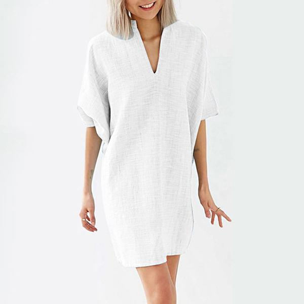 Elegant V Neck A-Line Loose Casual Dress