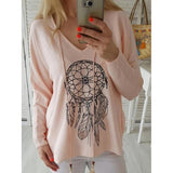 V-Neck Long Sleeve Mid-Length Casual Straight T-Shirt