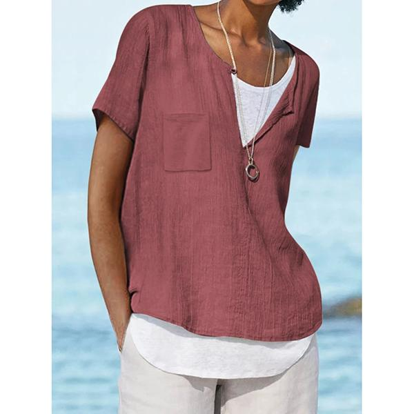 Solid Color Short Sleeve Pocket Casual Tops