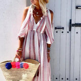 Vacation Strapless V Neck Maxi Dress