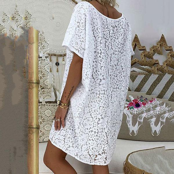 Casual Loose V Neck Lace Dress