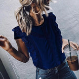 Solid Color Round Neck Lace Blouse