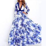 Women Autumn Long Sleeve V-Neck Floral Dresses
