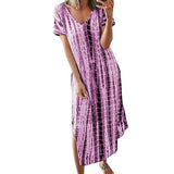 Casual Maxi Split Tie Dye Plus Size Long Dresses
