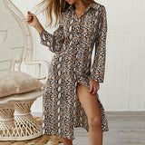 Sexy Snake Button Front Split Dress