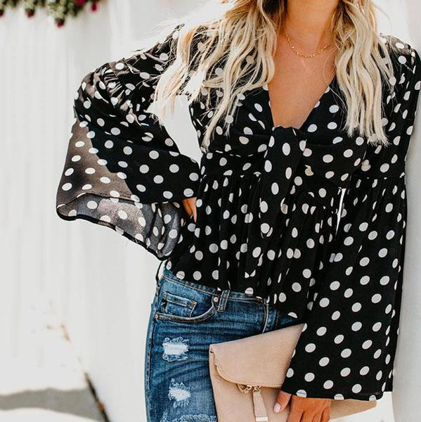 Sexy V Neck Polka Dot Lace-Up Blouse