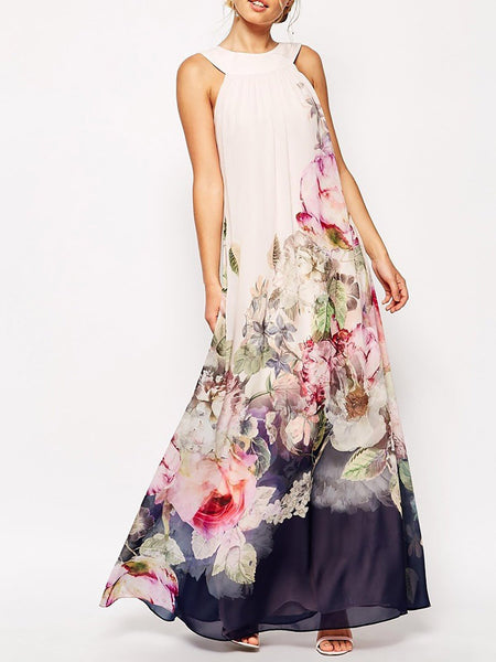 Sleeveless Floral Elegant Chiffon Maxi Dress