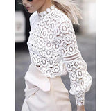 Women Hollowed-out Lantern Sleeves Tops
