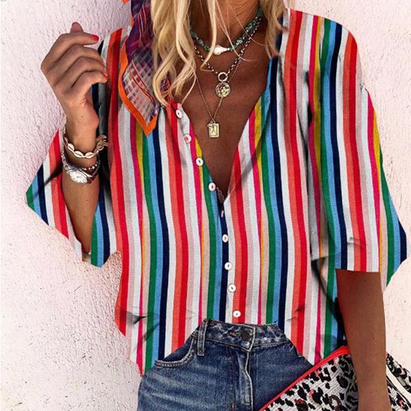 Women Summer Loose Casual Colorful Striped Blouse