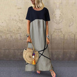 Casual Loose Stitching Color Dress