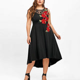 Plus Size Lace Stitching Printed Dress