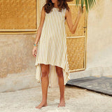 Casual Stripe Sleeveless Irregular Dress