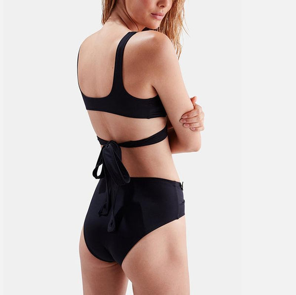 Sexy Solid Color Bikini Cross Strap One-piece Swimsuit