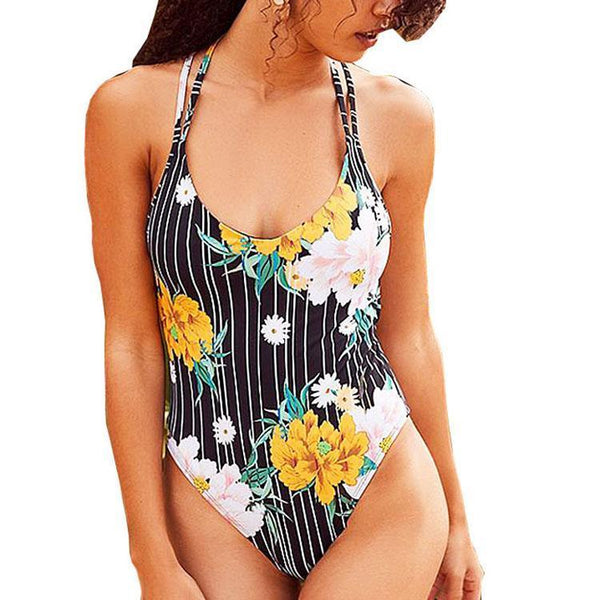 Siamese Sexy Striped Print Conservative Swimsuit