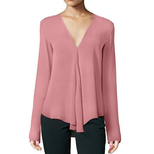Women Casual Solid Chiffon Long Sleeve Blouse