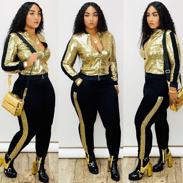 Spring Autumn Winter Sequin 2 Piece Set Women Tracksuit Long Sleeve Jacket Top Pants Suit Streetwear Sparkly Matching Sets Club Outfits