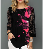 2020 Fashion T-Shirt Women Spring Summer AutumnPrinting Blouse 3/4 Sleeve Casual Hem Irregularity Female Fashion Shirt Tops Plus Size