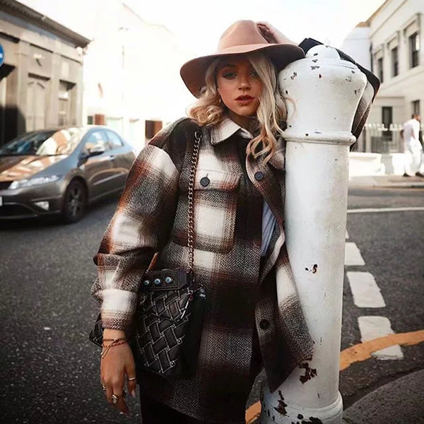 long sleeve woolen coats fashion ladies thick plaid coat female streetwear elegant girls oversize jacket