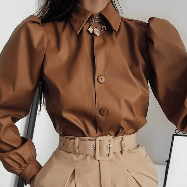 2020 Casual Fashion Turn-down Collar Spring Autumn Leather Blouse Women Long Sleeve Puff Blouse Vintage Shirt Ladies