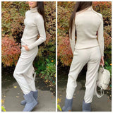 2020 Women Knitted Tracksuit Turtleneck Sweater Casual Suit Spring Autumn Winter 2 Piece Set Knit Pants Sporting Suit Femme Clothing