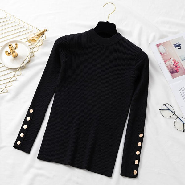 Spring Autumn Women Long Sleeve Pure Slim Sweater Winter Knitted Turtleneck Casual Cashmere Pullover Metal Buttons Split Cuff Basic Top