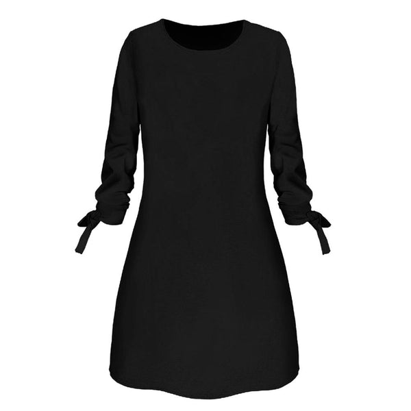 2020 Hot Sale Spring Autumn Dress Women Fashion O-neck Solid Bow Elegant Straigth Dress Spring Loose Mini Dresses