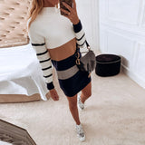 Women Warm Mini Bodycon Ladies Stripe Sexy Casual Knitted Dresses Patchwork Long Sleeve Turtleneck Sweater Dress