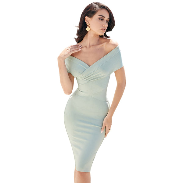 Women Sexy Bandage Dress v Neck Red White Maxi Off Shoulder Women Bandage Dress Celebrity Bandage Dresses Vestidos