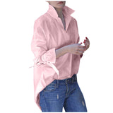 2020 Fashion Women Spring Long Sleeve tops Women Casual shirt top Lapel Shirt Plain Print Blouse Plus Size Shirt Tops Blouses