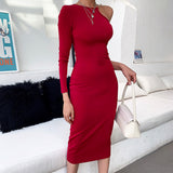 Fashion Red One Shoulder Party Dresses Women Single Long Sleeve Irregular Skinny Elegant Sexy Elastic KneeLength Bodycon Dress
